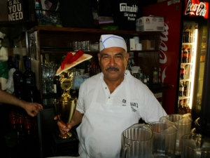 The Chef of world famous Grimaldi's Pizzeria in Brooklyn holding the Volcanic Peppers' Fiery Pizza trophy prior to the event.