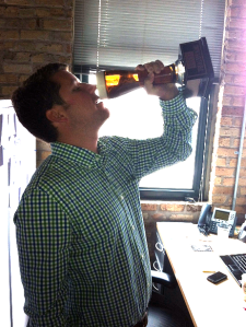 "Heisler takes a ""sip"" of his Far Out Awards, tasting his sweet success."