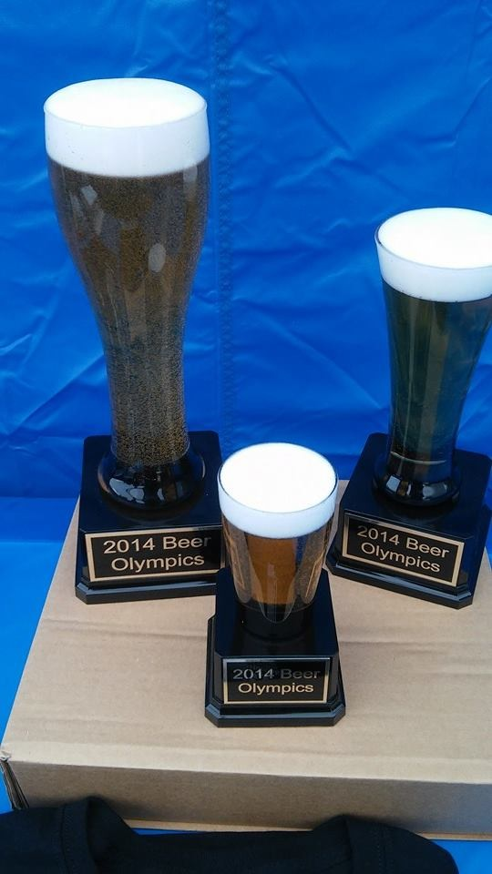 1st, 2nd, and 3rd place trophies for the first Annual Beer Olympics